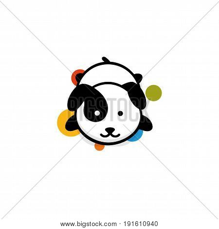 Cute Dog rest lying down vector illustration, Baby Puppy logo, new design art, Pet Black color sign, simple image, picture with animal and colorful circles