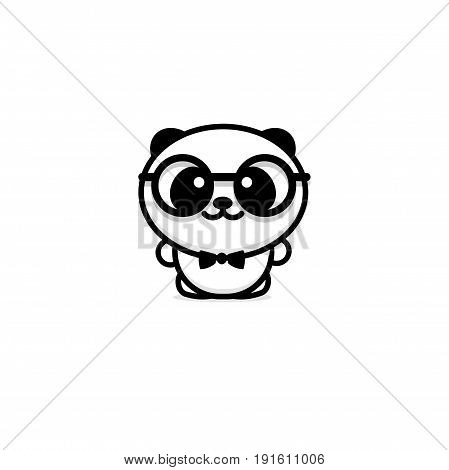 Cute Panda With glasses and butterfly vector illustration, Baby Bear logo, new design line art, Chinese Teddy-bear Black color sign, simple image, picture with animal