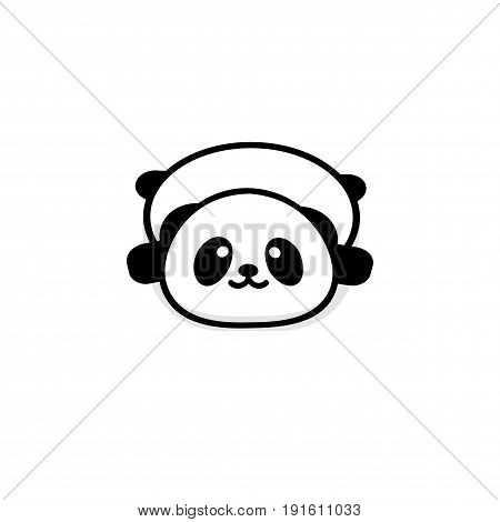 Cute Stout Panda rest lying down vector illustration, Baby Bear logo, new design line art, Chinese Teddy-bear Black color sign, simple image, picture with animal