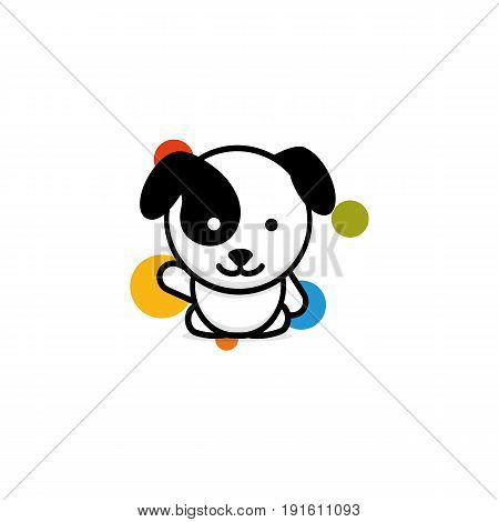 Cute Dog with colorful balls welcomes waving his hand vector illustration, Baby Puppy logo, new design art, Pet Black color sign, simple image, picture with animal.