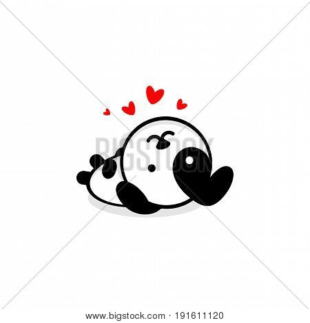 Cute Dog In love and rest vector illustration, Baby Puppy logo, new design art, Pet Black color sign, simple image, picture with animal played