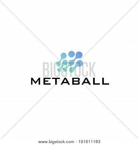 Chip logo blue color metaball, graphic network big data base concept, 2d vector illustration isolated on white background, eps 10.