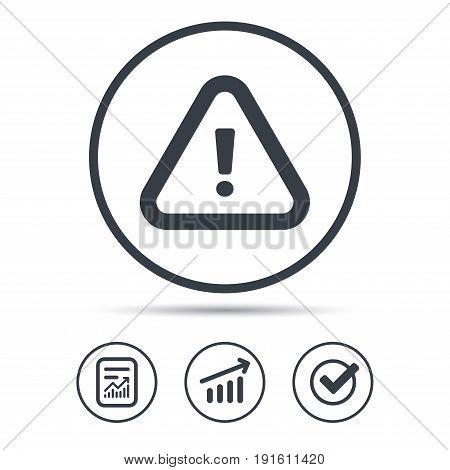 Warning icon. Attention exclamation mark symbol. Report document, Graph chart and Check signs. Circle web buttons. Vector