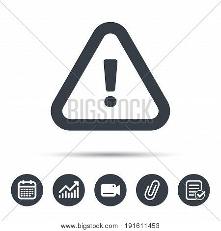 Warning icon. Attention exclamation mark symbol. Calendar, chart and checklist signs. Video camera and attach clip web icons. Vector
