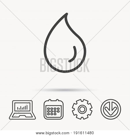 Water drop icon. Liquid sign. Freshness, condensation or washing symbol. Notebook, Calendar and Cogwheel signs. Download arrow web icon. Vector