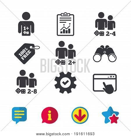 Gamer icons. Board games players sign symbols. Browser window, Report and Service signs. Binoculars, Information and Download icons. Stars and Chat. Vector