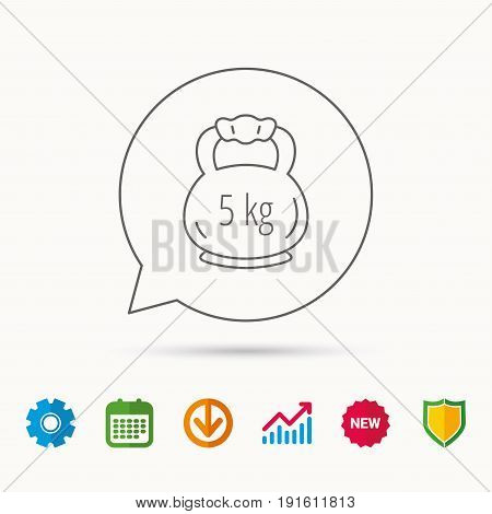 Weight icon. Weightlifting barbell sign. Power fitness symbol. Calendar, Graph chart and Cogwheel signs. Download and Shield web icons. Vector