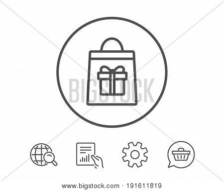 Shopping bag with Gift box line icon. Present or Sale sign. Birthday Shopping symbol. Package in Gift Wrap. Hold Report, Service and Global search line signs. Shopping cart icon. Editable stroke
