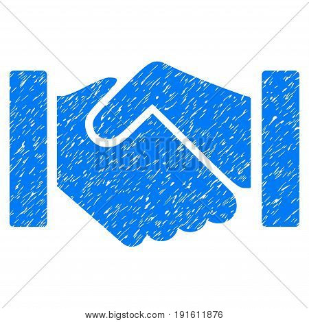 Grunge Relation Handshake icon with grunge design and unclean texture. Unclean vector blue pictogram for rubber seal stamp imitations and watermarks. Draft sign symbol.