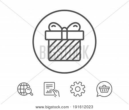 Gift box line icon. Present or Sale sign. Birthday Shopping symbol. Package in Gift Wrap. Hold Report, Service and Global search line signs. Shopping cart icon. Editable stroke. Vector