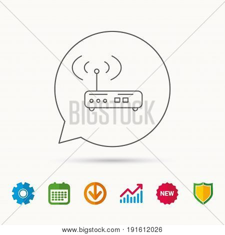 Wi-fi router icon. Wifi wireless internet sign. Device with antenna symbol. Calendar, Graph chart and Cogwheel signs. Download and Shield web icons. Vector