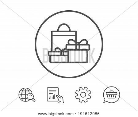 Gift boxes with bag line icon. Present or Sale sign. Birthday Shopping symbol. Package in Gift Wrap. Hold Report, Service and Global search line signs. Shopping cart icon. Editable stroke. Vector