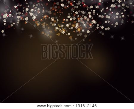 Abstract Sparkling Stars Golden Holiday Background bokeh effect.