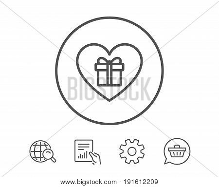 Love Gift box line icon. Present or Sale sign. Birthday Shopping symbol. Package in Gift Wrap. Hold Report, Service and Global search line signs. Shopping cart icon. Editable stroke. Vector
