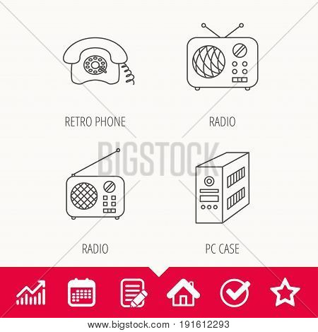 Radio, retro phone and pc case icons. Vintage radio linear sign. Edit document, Calendar and Graph chart signs. Star, Check and House web icons. Vector