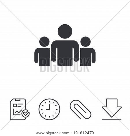 Group of people sign icon. Share symbol. Report, Time and Download line signs. Paper Clip linear icon. Vector