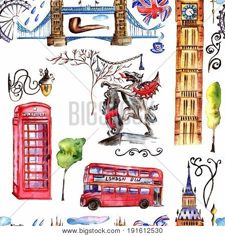 Watercolor London pattern illustration. Great Britain hand drawn symbols: red phone booth, Big Ben clock, flag of Great Britain,  scarf, double decker,  Tower Bridge.