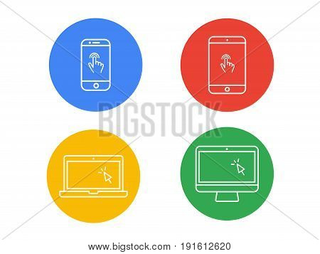 Laptop Computer, Tablet, Mobile With Finger Gesture And Cursor Vector Line Icon Set