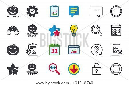 Halloween pumpkin icons. Halloween party sign symbol. All Hallows Day celebration. Chat, Report and Calendar signs. Stars, Statistics and Download icons. Question, Clock and Globe. Vector