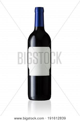Red Wine Bottle With Blank Label and Blue Top. Isolated on White Background.