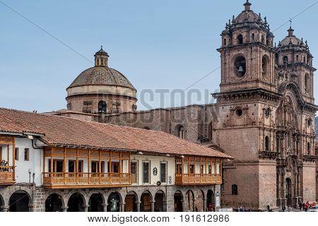 Cusco, Peru- March 16, 2017:La Compania de Jesus ( Company of Jesus ) Church in Cusco Peru