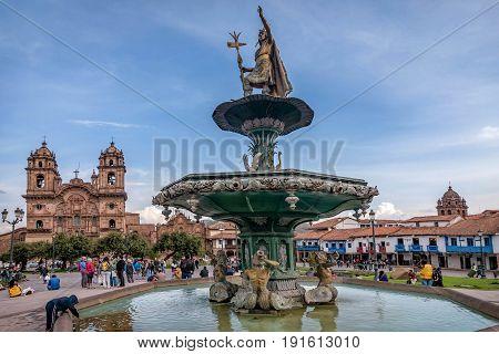 Cusco, Peru- March 16, 2017:Statue at the Plaza de Armas in Cusco Peru