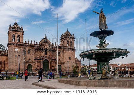 Cusco, Peru- March 16. 2017:Statue at the Plaza de Armas in Cusco Peru