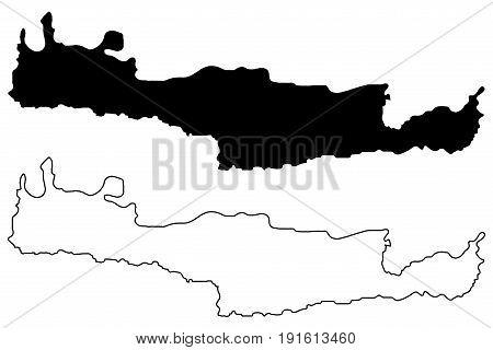 Crete map vector illustration , scribble sketch island of Crete