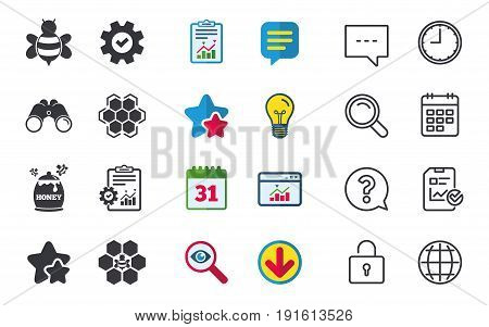 Honey icon. Honeycomb cells with bees symbol. Sweet natural food signs. Chat, Report and Calendar signs. Stars, Statistics and Download icons. Question, Clock and Globe. Vector