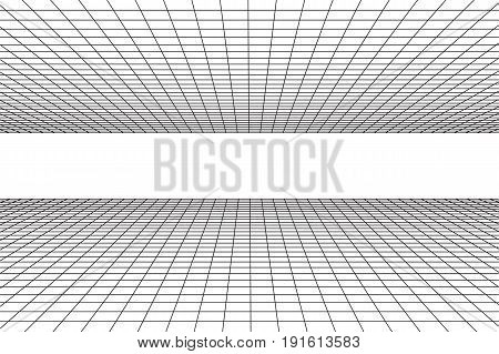 Grid plane with horizont line. Abstract background made in 80s vintage style. Vector illustration for your graphic design.