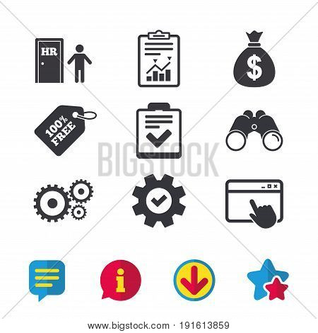 Human resources icons. Checklist document sign. Money bag and gear symbols. Man at the door. Browser window, Report and Service signs. Binoculars, Information and Download icons. Stars and Chat