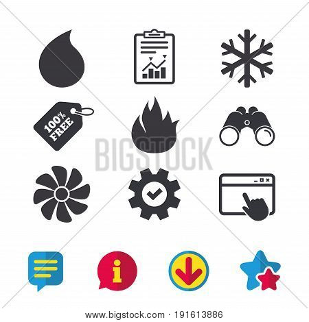 HVAC icons. Heating, ventilating and air conditioning symbols. Water supply. Climate control technology signs. Browser window, Report and Service signs. Binoculars, Information and Download icons