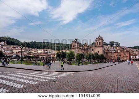 Cusco, Peru- March 16, 2017:Plaza de Armas Cusco Peru