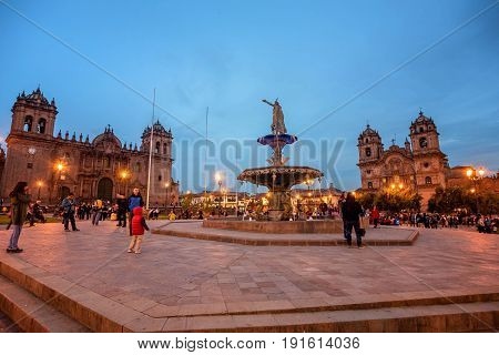 Cusco, Peru- March 17, 2017:Plaza de Armas Cusco Peru