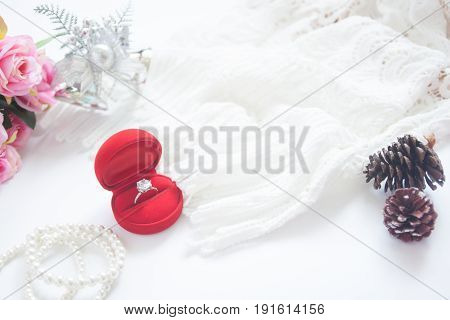 Wedding concept Selective focus on diamond ring in red box