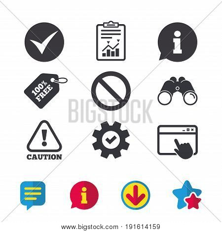 Information icons. Stop prohibition and attention caution signs. Approved check mark symbol. Browser window, Report and Service signs. Binoculars, Information and Download icons. Stars and Chat