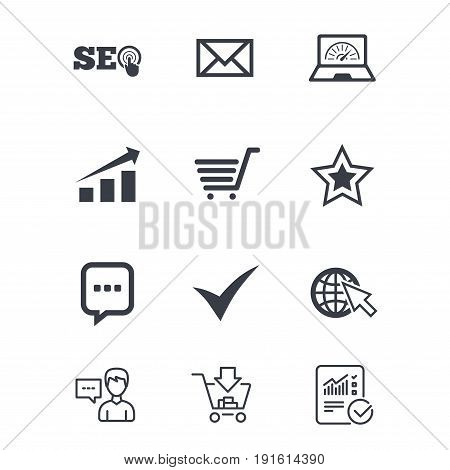 Internet, seo icons. Tick, online shopping and chart signs. Bandwidth, mobile device and chat symbols. Customer service, Shopping cart and Report line signs. Online shopping and Statistics. Vector
