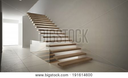 Modern entrance hall with wooden staircase minimalist white interior design, 3d illustration