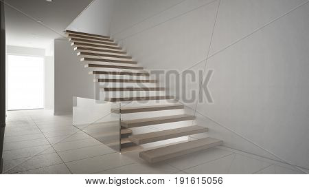 Unfinished project of modern entrance hall with wooden staircase sketch abstract interior design, 3d illustration