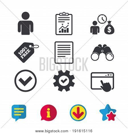 Bank loans icons. Cash money bag symbol. Apply for credit sign. Check or Tick mark. Browser window, Report and Service signs. Binoculars, Information and Download icons. Stars and Chat. Vector
