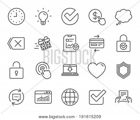 Report, Time and Globe line icons. Statistics, Speech bubble and Light bulb signs. Credit card, Download and Lock symbols. Gift delivery, Check and Protection Shield. Quality design elements. Vector