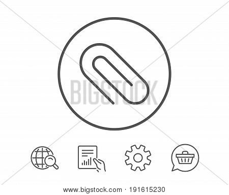 Attach line icon. Attachment paper clip sign. Office stationery object symbol. Hold Report, Service and Global search line signs. Shopping cart icon. Editable stroke. Vector