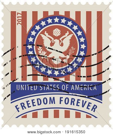 Vector USA postage stamp with the eagle on the great seal of the United States in the colors of the American flag with the words freedom forever and rubber stamp