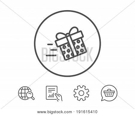 Gift box Delivery line icon. Present or Sale sign. Birthday Shopping symbol. Package in Gift Wrap. Hold Report, Service and Global search line signs. Shopping cart icon. Editable stroke. Vector