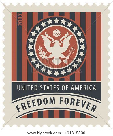 Vector USA postage stamp with the eagle on the great seal of the United States in the colors of the American flag with the words freedom forever.