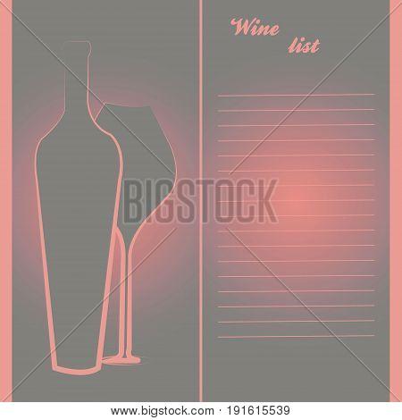 Wine bottle, glass. Template for menu in the wine bar, restaurant. Vector illustration