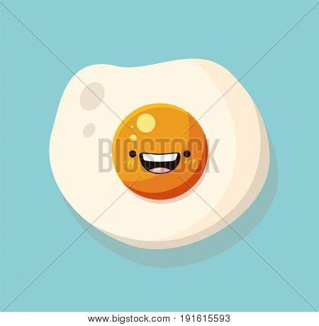 Egg kawaii cartoon cute design flat icon vector stock