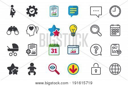 Maternity icons. Baby infant, pregnancy and buggy signs. Baby carriage pram stroller symbols. Head with heart. Chat, Report and Calendar signs. Stars, Statistics and Download icons. Vector