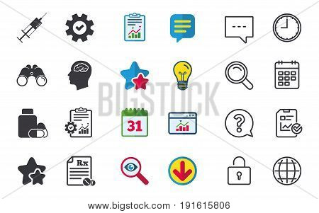 Medicine icons. Medical tablets bottle, head with brain, prescription Rx and syringe signs. Pharmacy or medicine symbol. Chat, Report and Calendar signs. Stars, Statistics and Download icons. Vector
