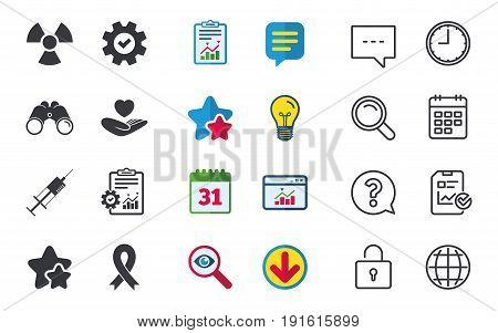 Medicine icons. Syringe, life insurance, radiation and ribbon signs. Breast cancer awareness symbol. Hand holds heart. Chat, Report and Calendar signs. Stars, Statistics and Download icons. Vector